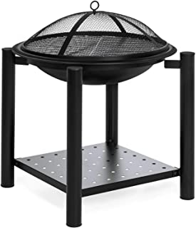 TimmyHouse Raised Fire Pit Bowl Grill Table Log Wood Storage Shelf Mesh Screen Cover 21.5