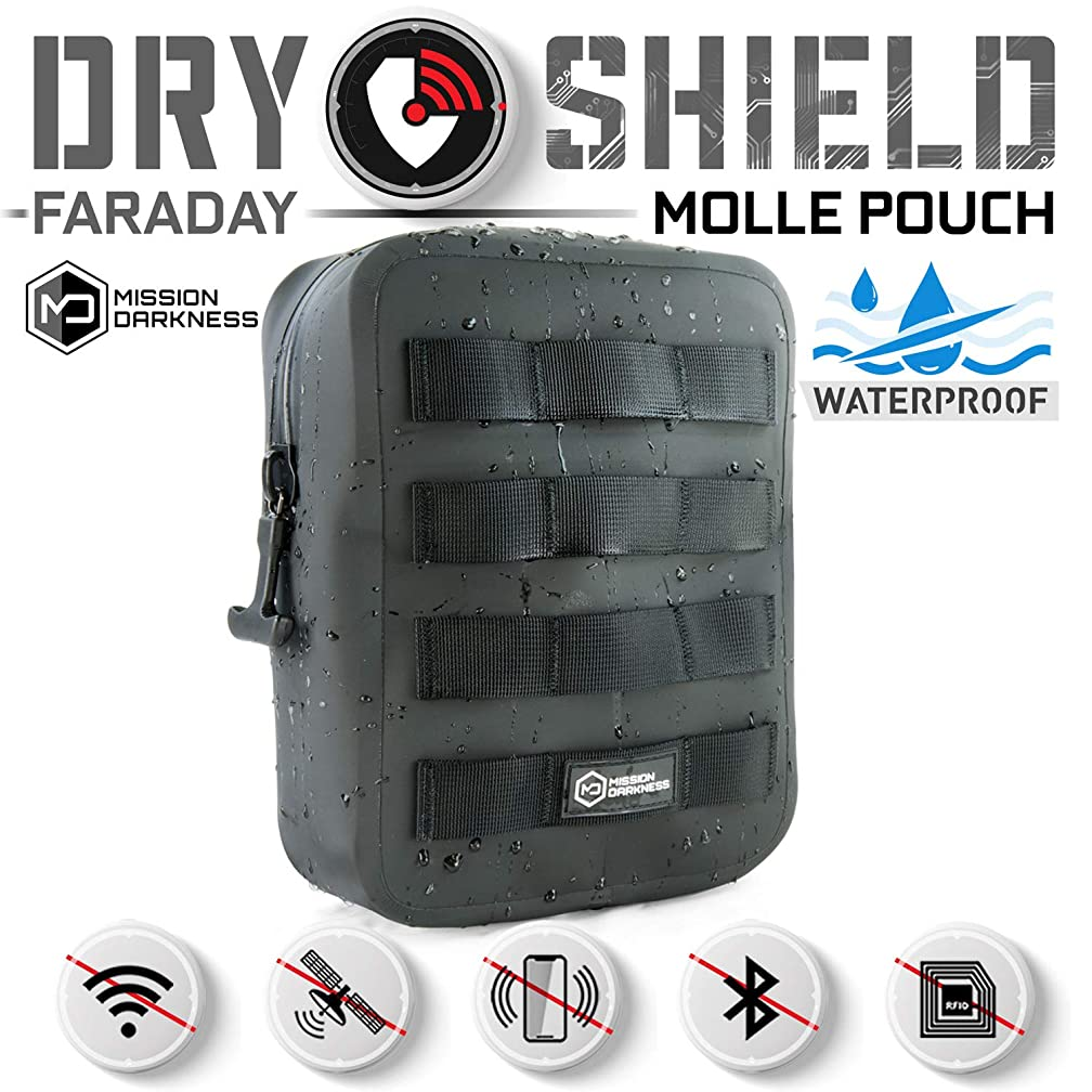 治療エゴイズム確認するMission Darkness ドライシールドMOLLE ファラデーポーチ -- 電気機器のセキュリティーと搬送/ シグナルブロック/ 対トラッキング/ EMP シールド / 携帯電話、タブレット等のデータセキュリティー用の防水ドライバッグ