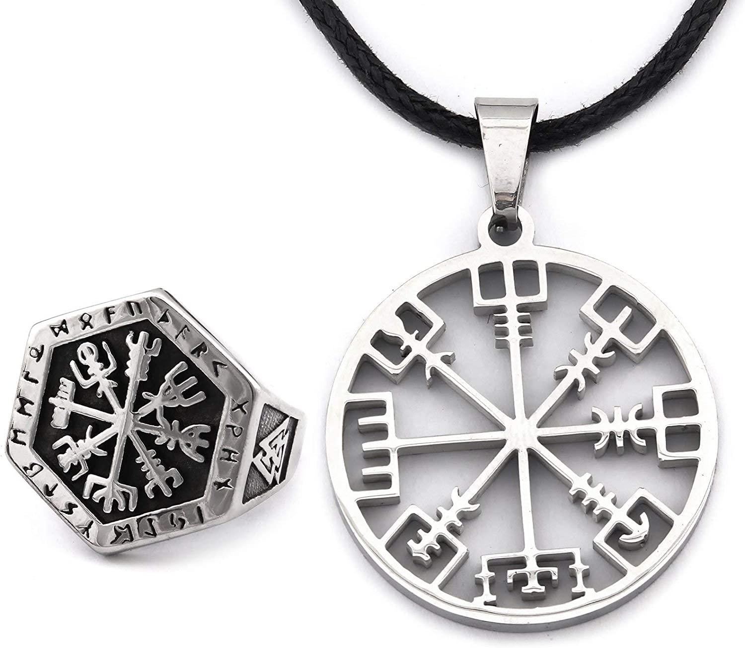 DUTO Odin Valknut Ring Vegvisir Viking Compass Necklace Combo Set Adjustable Cord Chain Pagan Protection Strength Amulet