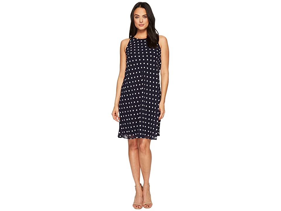 LAUREN Ralph Lauren Geminah Classy Dot Georgette Dress (Lighthouse Navy/Cream) Women