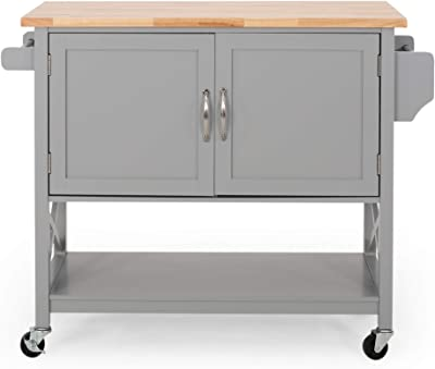 Christopher Knight Home Sonnie Kitchen Cart with Wheels, Gray, Natural
