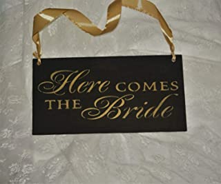 CELYCASY Wedding Sign/Here Comes The Bride Sign/Custom Colors/Wood Sign/Gold and Black