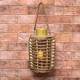 YATAI Bamboo Hurricane Lanterns, Tow Handle Candle holder for Chime Decorative vintage lantern wedding table decorations, ...