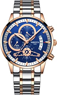 Men's Luxury Watches Chronograph Water Resistant Fashion Business Sports Quartz Wristwatch with Stainless Steel Rose Gold Blue Watch for Men