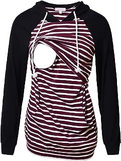 Bhome Nursing Hoodie Long Sleeves Shirt Casual Breastfeeding Top Sweatshirt