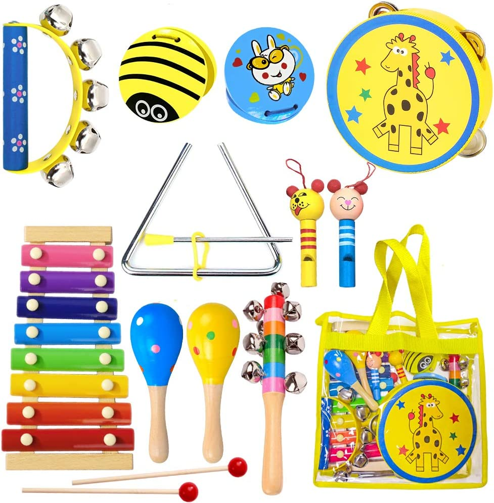 ToyerBee Musical Instruments Toys Set for Kids, 15PCS Wooden Percussion Instruments for Toddlers, Preschool& Educational Toy with StorageBag, Tambourine, Maracas, Castanets& More for Boys and Girls. : Toys & Games