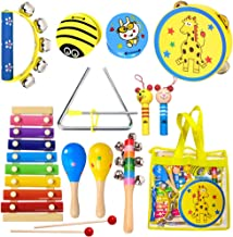 ToyerBee Musical Instruments Toys Set for Kids, 15PCS Wooden Percussion Instruments for Toddlers, Preschool& Educational T...