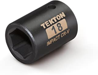 TEKTON 47773 1/2-Inch Drive by 18 mm Shallow Impact Socket, Cr-V, 6-Point