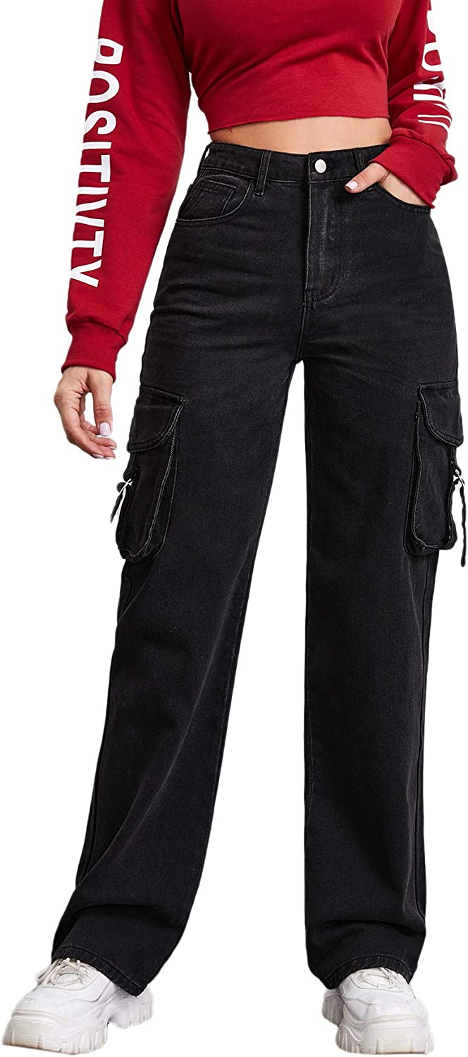 store Floerns Women's Kansas City Mall Casual High Waisted Baggy Solid Jeans Work C Out