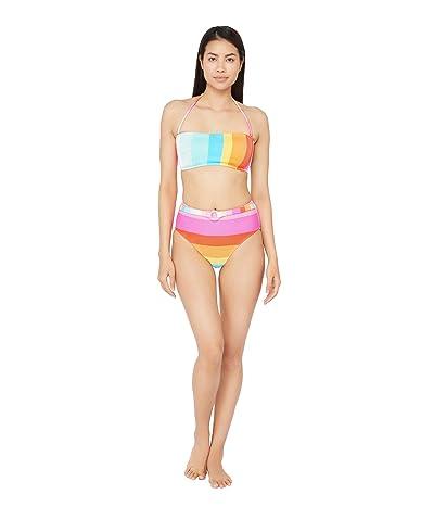 Trina Turk 25th Anniversary Sunrise Stripe Bandeau Bra Bikini Swimsuit Top Women