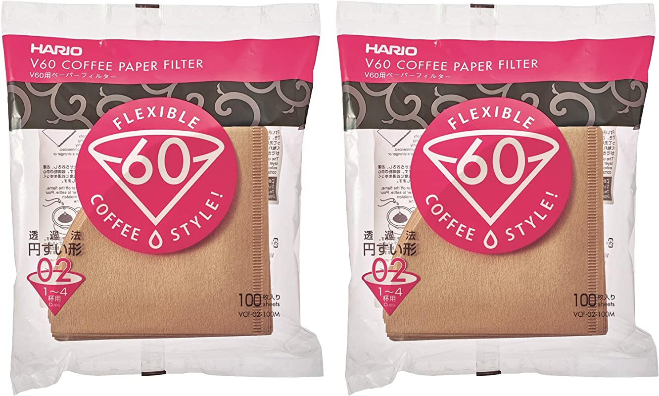 Hario 02 100 Count Coffee Natural Paper Filters 2 Pack Value Set Total Of 200 Sheets