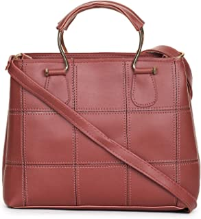 GLOSSY Women's PU Sling Bag with Handle and Crossbody Strap (Maroon)