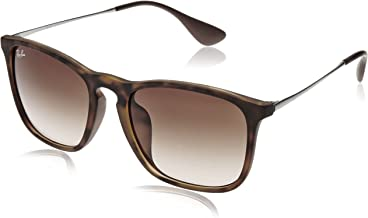 RAY-BAN RB4187F Chris Square Asian Fit Sunglasses, Havana Rubber/Brown Gradient, 54 mm