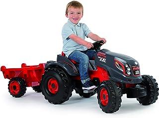 Smoby Traktor Stronger XXL, Trettraktor mit Anhänger, Trailer verfügt über Tragkraft von bis zu 25 kg, großer Trecker, Traktor für Kinder ab 3 Jahren, Rot/Schwarz