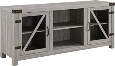 """Walker Edison Furniture Company Farmhouse Barn Glass Wood Universal Stand for TV's up to 64"""" Flat Screen Living Room Storage Cabinet Doors and Shelves Entertainment Center, 58 Inch, Stone Grey"""