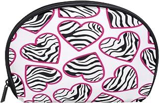 ALAZA Zebra Love Heart Half Moon Cosmetic Makeup Toiletry Bag Pouch Travel Handy Purse Organizer Bag for Women Girls