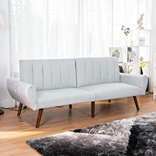 Mandycng Living Room Home Foldable Loveseat Sofa Bed, Dorm Apartment Décor Cozy Guest Couch Splitback Sofa Bed Furniture, Convertible Recliner Slumber Futon Sleeper Relax Bed Couch, Gray Color