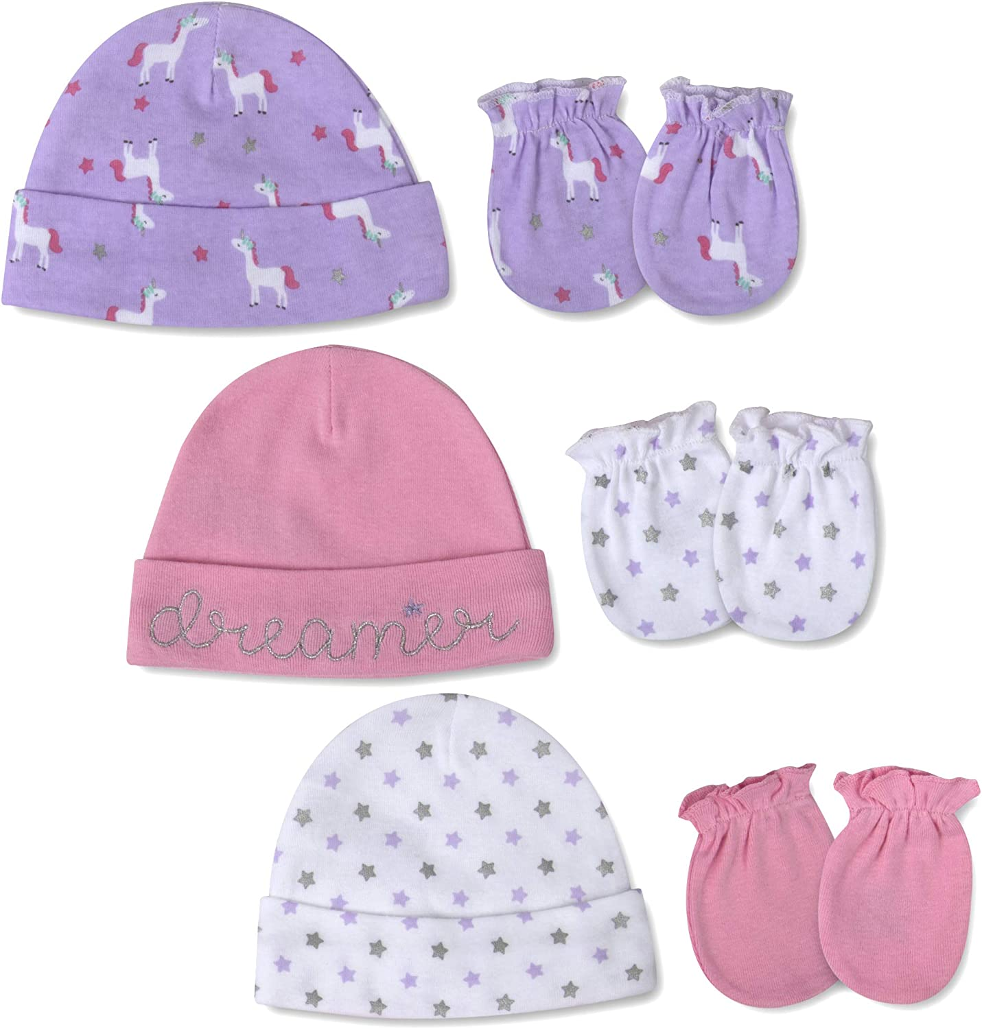 Baby Hat and Mitten Set 0-6 Months - Caps and Anti Scratch Mittens Set for Infants, Newborn Baby Boy, Baby Girl