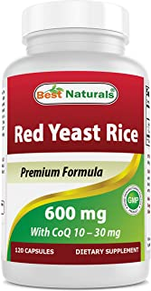 Best Naturals Red Yeast Rice with CoQ10, 120 Capsules - Cardiovascular Formula Contains 600 mg of Red Yeast Rice ans 30 mg...