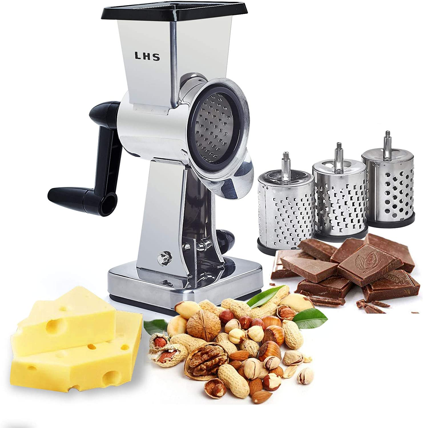 Rotary Cheese Grater Stainless Steel Body Chocolate Drum Shredder Cutter Nut Grinder with 3 Interchangeable Sharp Drums 7.5 Inch High
