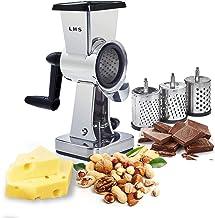 Rallador de queso rotativo de acero inoxidable con cuerpo de bombones, cortador de nueces, molinillo de nueces, con 3 tamb...