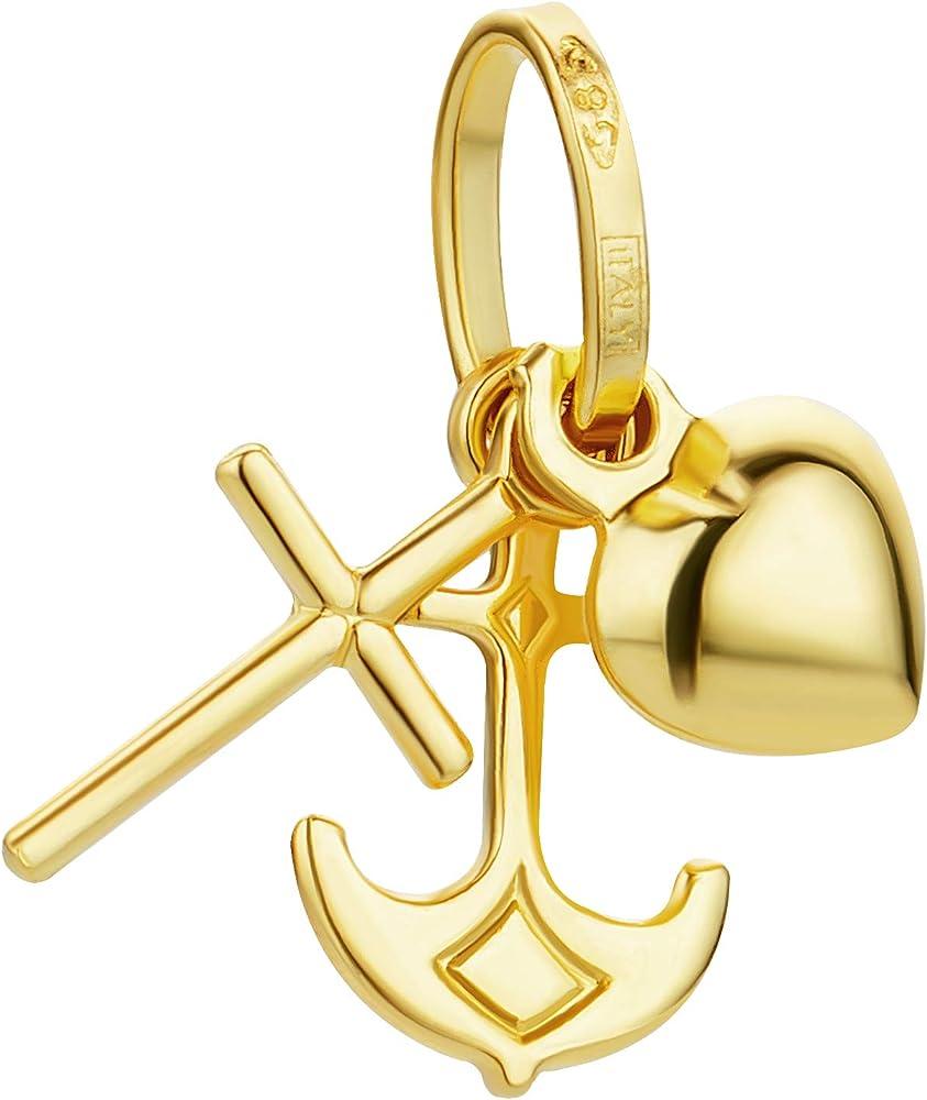 Prins jewels,ciondolo a forma di croce,motivo:fede, amore, speranza,con cuore, in oro giallo 14kt/585 JMS