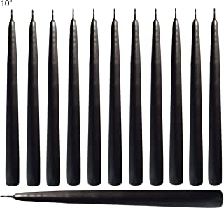 Black Taper Candles 10 Inches Tall - Elegant - Premium Quality - Dripless Smokeless - Unscented - Hand-Dipped - Set of 12 - for Holiday Decoration, Wedding, Dinner,Table, Birthday Made in USA