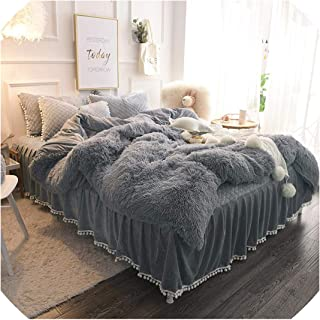 Magic day Chic Faux Fur Shaggy Bedding Set Full 4 Pcs Set (1 Comforter Cover+1 Ruffle Quilted Bedskirt +2 Pillow Shams) Velvet,Gray,Queen Size 4 Pieces,Including Bedskirt