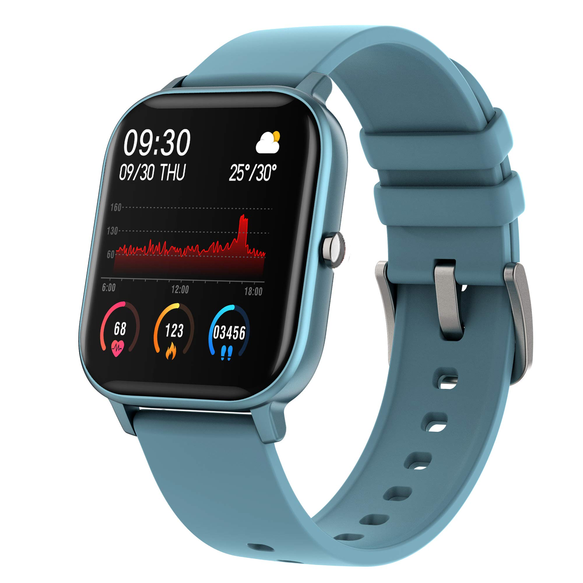 Smart Watch with Heart Rate Sleep Monitor Bluetooth Music Control All-Day Activity Step Counter Smart Bracelet Compatible with Android iOS Phones for Women Men, Blue