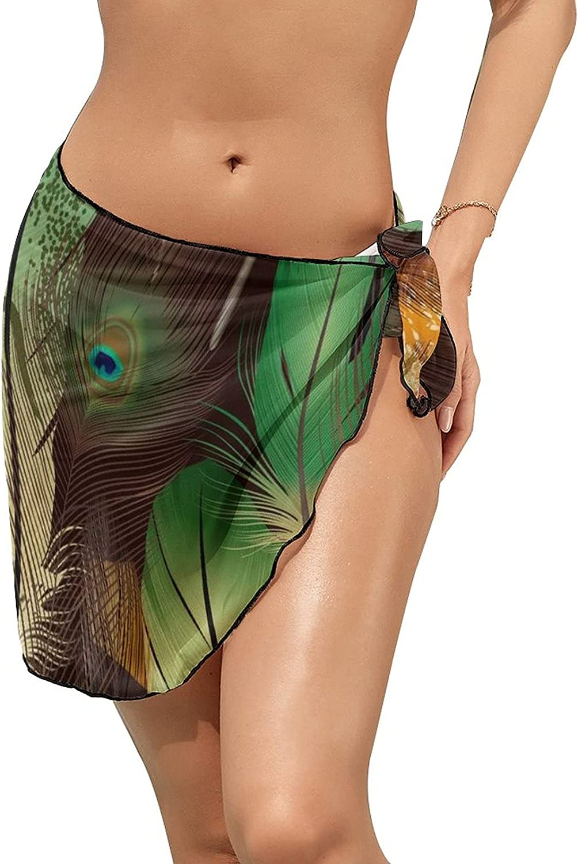 JINJUELS Women's Bikini Swimsuit Cover Up Green Orange Feathers Summer Beach Wrap Skirt Pareo Sarong