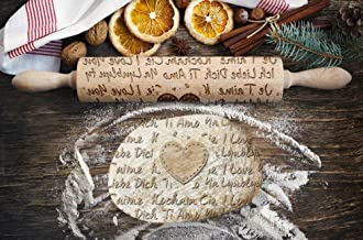 I Love You Pattern, Engraved Rolling pin, for Cakes and Cookies, Kitchen Tool, Original Shape