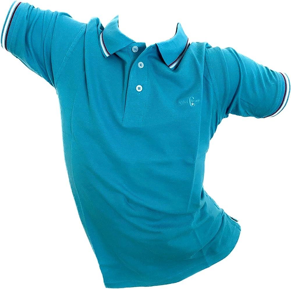 Enrico coveri, polo da uomo, maglietta a maniche corte, 100% cotone, azzurra