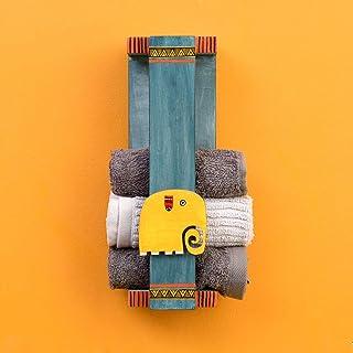 Aakriti Art Creations Happy Elephant Wall Mounted Towel Rack (4x3.5x12)