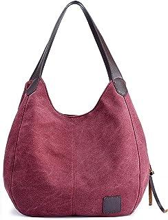 Fanspack Womens Canvas Shoulder Bag Retro Tote Bag Handbag for Travel Shopping