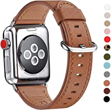 WFEAGL Compatible iWatch Band 38mm 40mm 42mm 44mm, Top Grain Leather Bands of Many Colors for iWatch Series 5,Series 4,Series 3,Series 2,Series 1 (Brown Band+Silver Adapter, 38mm 40mm)