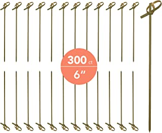 JapanBargain 1597x6, Cocktail Picks Appetizer Picks Bamboo Skewers for Snack Sandwich Finger Food Tapas Fruit Kabob BBQ Hors D'oeuvre Twisted End Knotted Bamboo Sticks, 6 inch, 300pcs