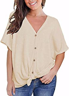 Fronage Womens Loose Blouse Short Sleeve V Neck Button Down T Shirts Tie Front Knot Casual Tops