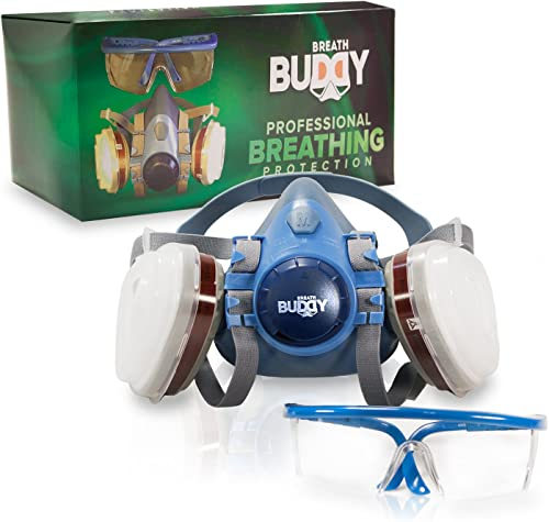 Breath Buddy Respirator Mask (Plus Safety Glasses) Reusable Professional Breathing Protection Against Dust, Pollen, P...