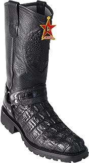 Original Black Caiman (Gator) Tail Leather Biker Toe Boot