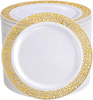 "I00000 102 Pieces Gold Lunch Plates, 9"" Plastic Dinner Plates with Lace Design, Disposable Gold Dinner Plates"