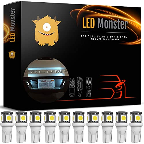LED Monster 10x 168 194 T10 5SMD LED Bulbs Car License Plate Lights Lamp White 12V