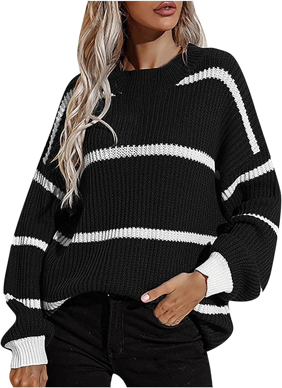 RFNIU Womens Sweaters Fall Fashion Casual Black & White Striped Crewneck Pullover Shirt Loose Long Sleeve Blouses Tops