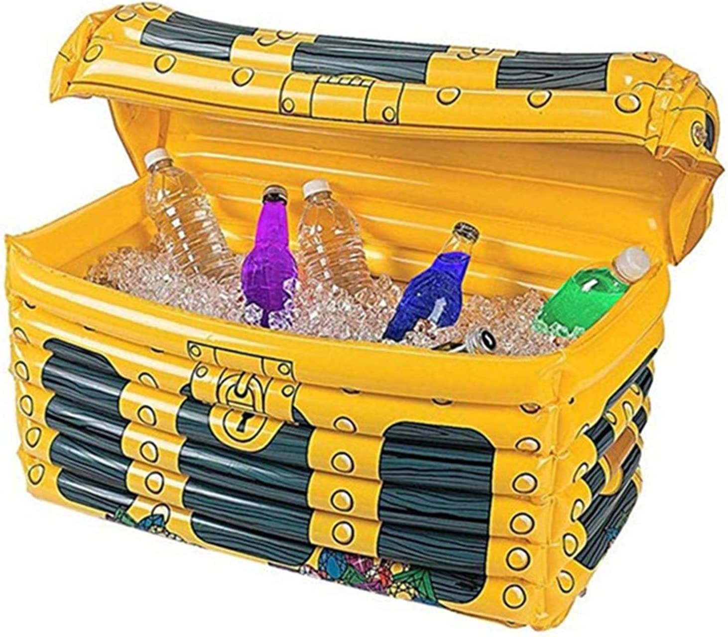 Treasure Box Floating Cooler Inflatable Ice Bucket - Beer Beverage Big Coolers with Cover,Drink Holder Beach Camping Food Tray bar Accessories Halloween Christmas Decor