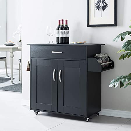 Amazon Com Liberty Black Kitchen Cart With Stainless Steel Top By Home Styles Kitchen Islands Carts