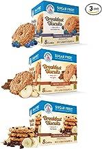 Voortman Sugar Free Cookies Breakfast Biscuits | Apple Cinnamon | Oatmeal Blueberry | Chocolate Banana - BUNDLE 3 Pack - 7.1 OZ each
