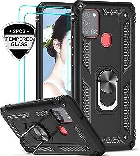 LeYi Funda Samsung Galaxy A21S con [2-Unidades] Cristal Vidrio Templado,Armor Carcasa con 360 Grados Anillo iman Soporte Hard PC Silicona TPU Bumper Antigolpes Case para Movil A21S,Negro
