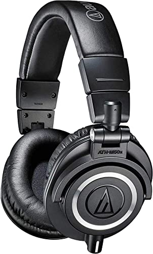 Audio-Technica ATH-M50x Professional Studio Monitor Headphones, Black, Professional Grade, Critically Acclaimed, With...