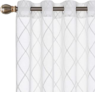 Deconovo Visillos para Ventanas Gasa Efecto Lino Cortina Transparente para Habitación Infantil 2 Paneles 140 x 245 cm Cuadros Blanco