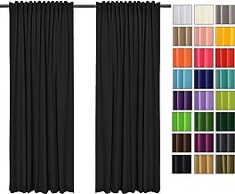 Tissu Polyester 135x215 cm Noir 34 Rollmayer Rideaux occultants avec Bande Tunnel Opaque uni - 2er Pack BxH