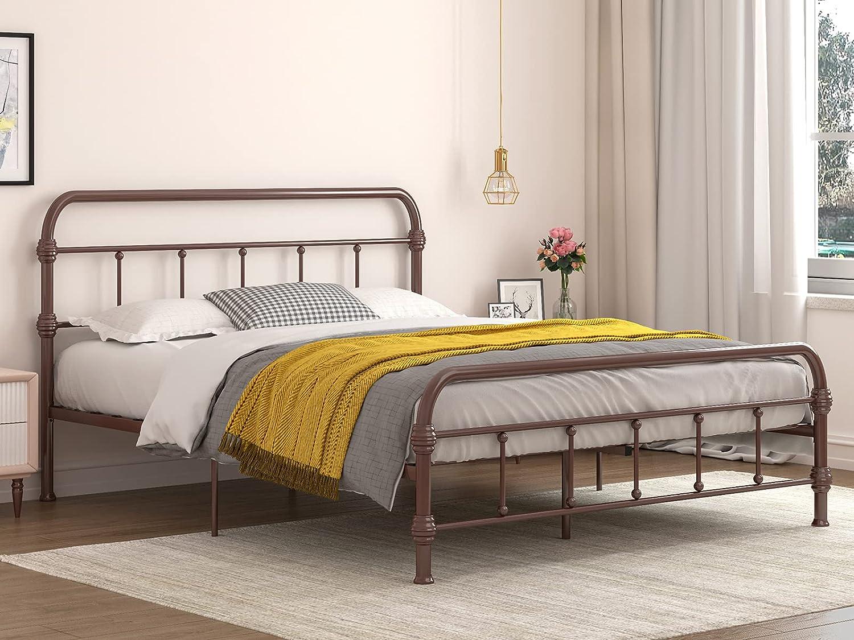 Popular popular mecor Queen Size sold out Metal Bed Frame Platform V Reinforced with